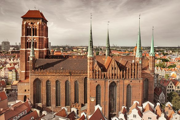 Church of the Blessed Virgin Mary (Polish: Bazylika Mariacka) and roofs of Gdansk city centre